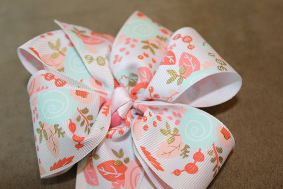 Floral Girls Bow, Handmade Bow, Peach Aqua Bow, 5 inch Bow, Boutique Bow, Spring Bow, Hair Accessory,Baby Bow,Toddler Bow,HairClip