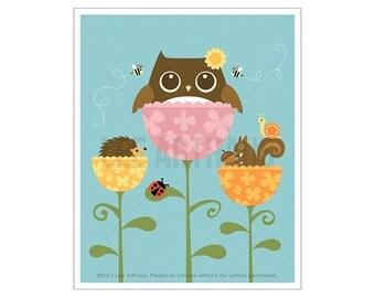 117A Owl Nursery Art - Owl Squirrel and Hedgehog in Flowers Wall Art - Baby Girl Nursery Print - Woodland Nursery Decor - Baby Girl Gift