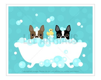 159D - Bathroom Art Decor - Two Boston Terrier Dogs in Bubble Bath Wall Art - Cute Dog Print - Bathroom Wall Print - Bath Print - Dog Print