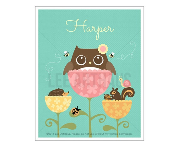 127P Owl Nursery Print - Personalized Owl and Friends in Tulips Wall Art - Custom Name Baby Girl Nursery Wall Art - Baby Girl Nursery Art