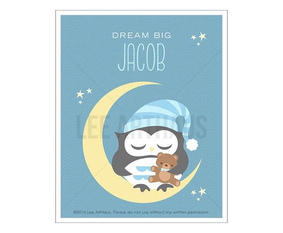 148P Owl Print - Dream Big Art - Personalized Boy Owl Sleeping on Moon Wall Art - Custom Name Boy Nursery Art - Owl Wall Art - Baby Boy Art
