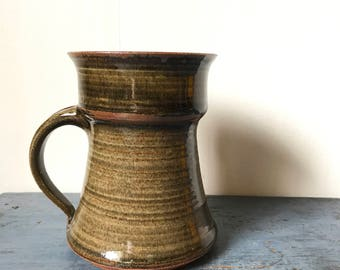 pottery coffee mug - large handmade coffee cup - brown ombre striped