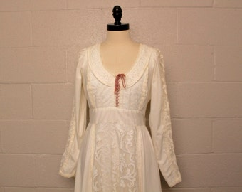 Vintage 1970's Gunne Sax White Maxi Dress Pearls