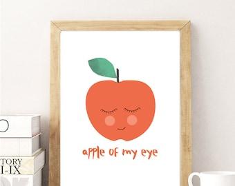 Apple of my Eye Art Print, apple red modern Nursery Printable Wall art, Printable Poster, 8x10