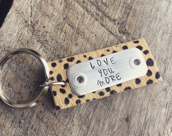 Hand Stamped Key Chain, Leopard - Snow Leopard LOVE YOU MORE