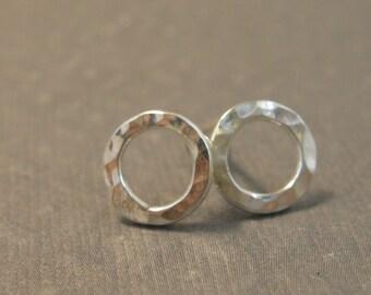 Tiny Sterling Hammered Post Hoops, Artisan Handmade Hoop  Earrings in Sterling Silver, Silver Post Earrings