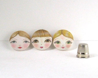 Face Buttons, Large Sewing Buttons, Covered Buttons, Unusual Buttons, Sewing Notions, Designer Buttons, Button Art
