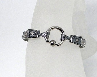 Fleur Trois Antiqued Sterling Silver Slave Cuff Bracelet with Stainless Steel Gothic Captive Bead Ring Clasp