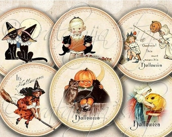 SALE HALLOWEEN CIRCLES  Collage Digital Images -printable download file Digital Collage Sheet Vintage Paper Scrapbook