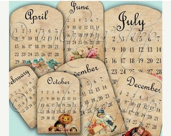 SALE CALENDaR SHEETS Collage Digital Images -printable download file-