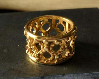 """1/2"""" Wide Gold Plated Filigree Ring Size 7"""