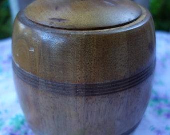 vintage wooden ceramic lined biscuit barrel