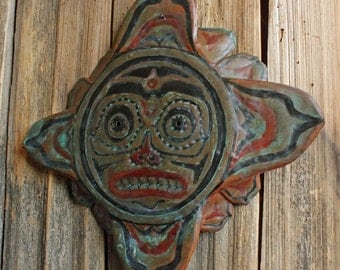 Star Spirit Mask - copper metal tribal mask wall hanging - Pacific Northwest Coast Indian inspired - blue and naturally-aged patina - OOAK