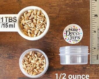 12 lot - New 1/2 ounce sized Screw Top Jar. Clear Screw top Caps on clear jar. Polypropylene plastic. #4302. Low Profile. Decojars