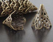 REDUCED Bronze Bead Cap 50 Cones Antique Bronze Filigree 22mm x 17mm (1025cap22z1)xz