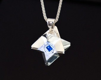 Little Light Pendant in Sterling Silver with Blue Synthetic Gemstone