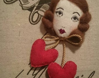 Hello Dolly!! Lucille Doll Face Embroidered Bow & Dangle Hearts Brooch