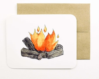 Fire card with envelope | Fire | Campfire | Log fire | Greeting card | Holiday card | Winter | Orange fire