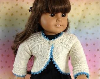 Doll Sweater 18 Inch Doll Knit Bolero Am Girl Doll Sweater American Girl Doll White Bolero White Doll Sweater AG Doll White Knit Sweater