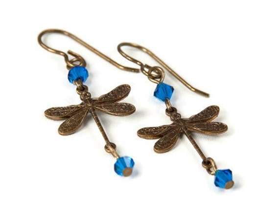 Dragonfly Earrings - Brass with Blue Crystals