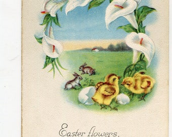 Easter postcard - Easter Wishes PostCard -  Easter bunny rabbits, chicks, eggs vintage post card