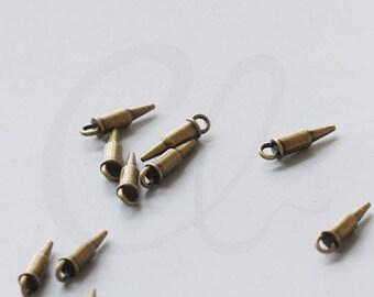 30 Pieces Antique Brass Tone Base Metal Charm-Bullet 15.6x3.3mm  (36738Y-V-71)