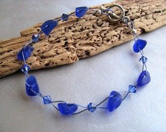 Sea Glass Bracelet , Beach Glass Bracelet , Cobalt Blue ,Ocean Bracelet, Sea Glass Jewelry , Ocean Gifts, Sea Glass Gift