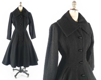 FREE U.S. Ship // Vintage 50s Coat // 1950s Coat // Boucle Coat // Flared Coat // Fitted Coat // Princess Coat - sz S