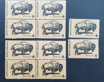 Vintage unused postage stamps - 10 stamps with a buffalo, wildlife conservation, 6 cent,