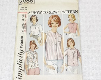 1960s Vintage Blouse Pattern Simplicity 5285 34 Inch Bust