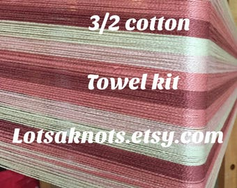 Naturallly pink towel Weaving kit-towels, table runner, placemats-Floor loom-Rigid heddle loom-Handwoven- Striped-weaving--Handmade-Weaving