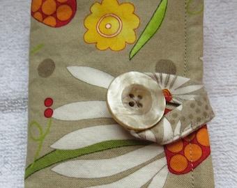 Tea Wallet , Tea Bag Holder, Cute Accessory, Purse Accessory, Flowers on Beige