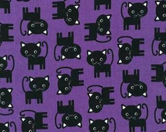 One (1) Yard -Black Cats on Purple Robert Kaufman Fabrics Urban Zoologie AAK-15724-6