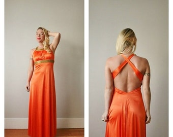ON SALE 1960s Tangerine Open Evening Dress >>> Size Extra Small