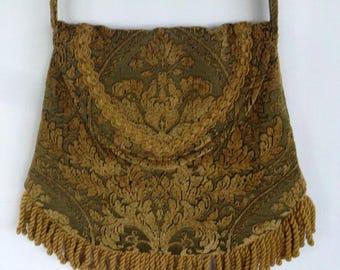Old World Tapestry of Sage and Gold Renaissance Bag Large Fringe Bag Boho Fringe Bag Bohemian Purse Cross Body Hippie Bag