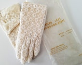Vintage Nylon Stretch Lace Girls Dress Gloves