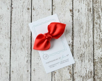 NEW Red Satin Bow Hair Clip - center knot - red holiday hair bow - no slip grip clippies - satin hairbows - simple hair bow for Christmas