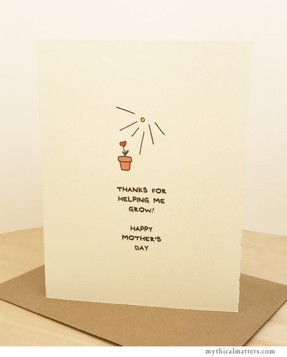 Mother's Day Card Cute Nature Potted Plant Sweet for Her Mom Adorable Made in Toronto Canada Growth Nurture Sunshine Gardening