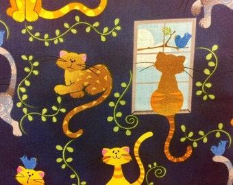 """Yellow Cats Navy Blue Valance Topper  New Window Curtain Treatment Cotton Fabric 42""""W x 15""""L"""