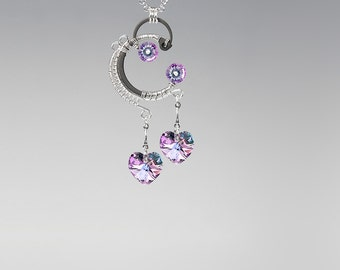 Pastel Swarovski Crystal Industrial Pendant, Vitrail Light Swarovski Crystal, Wire Wrapped, Feminine Pendant, Pink, Event Horizon v13