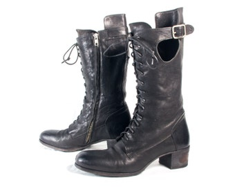 VTG 90's Soft Black Leather Knee High Boots size 9 to 9 1/2 Womens Lace Up Zip Up Officine Creative High Heel Riding Boots