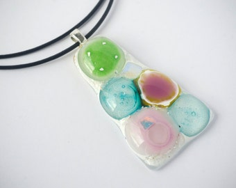 Fused Glass Necklace, Fused Glass Jewelry, Glass Pendant, Statement Jewelry