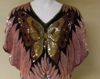 Vintage black sheer heavily sequinned beaded butterfly shape butterfly top pink/brown