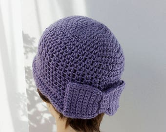 Flapper Hat with  Bow, Woman's Hat,  Custom, Chose Color, Women's Cloche Hat