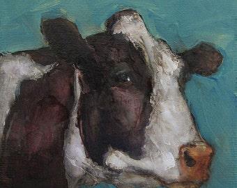 COW FOLK Art Colette W. Davis 4x4 Art Giclee print