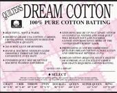 Quilters Dream Cotton Select  Batting- Crib Size Natural Color Quilt Batting