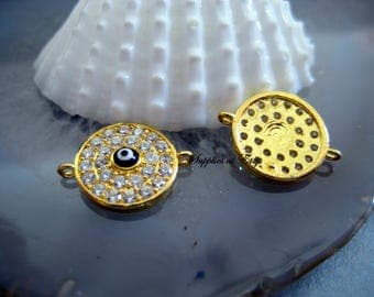 Gold Micro Pave cz Evil Eye Disc Connector-Gold Micro pave Cubic Zirconia Connector evil eye-Turkish evil eye-Ships from USA-Protection