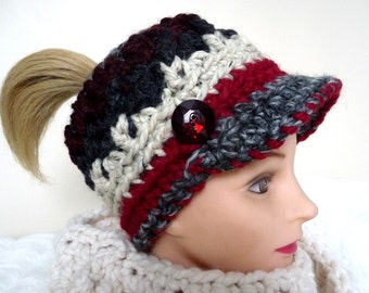 Crochet Pattern Colorful Messy Bun Ponytail Visor Cap