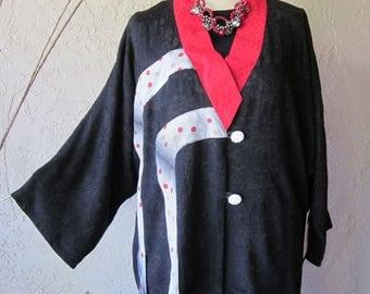 V Neck Jacket In Black and Red