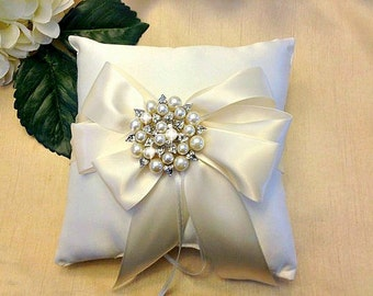 Ivory Ring Bearer Pillow - Ring Pillow - Pearl Ring Pillow - Ring Cushion - Ringbearer Pillow - Ivory Bridal Pillow  - 30 Colors Available